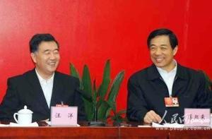 """""""两会""""期间,汪洋赴重庆代表团驻地看望代表。面对媒体,他与薄熙来一团和气"""